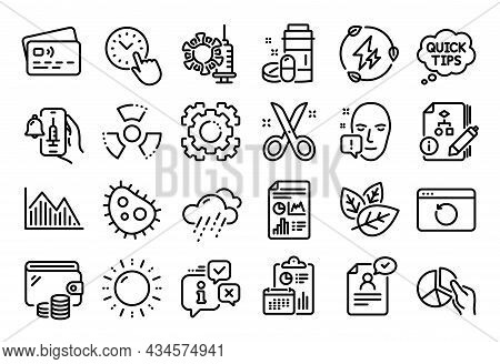 Vector Set Of Green Electricity, Rainy Weather And Pie Chart Line Icons Set. Calendar Report, Money