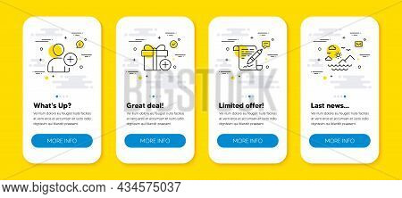 Vector Set Of Add Gift, Add User And Agreement Document Line Icons Set. Ui Phone App Screens With Li