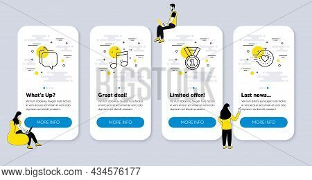 Vector Set Of Education Icons Related To Musical Note, Messenger And Best Rank Icons. Ui Phone App S