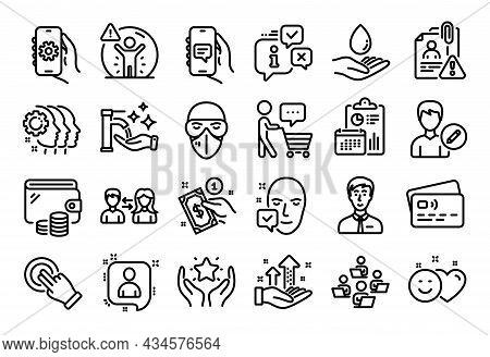 Vector Set Of Touchscreen Gesture, Water Care And Employees Teamwork Line Icons Set. Calendar Report