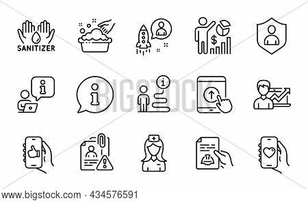 People Icons Set. Included Icon As Startup, Hospital Nurse, Technical Documentation Signs. Hand Wash