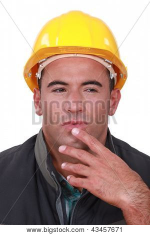 Portrait of a doubting tradesman poster
