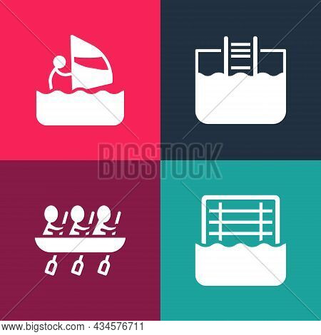Set Pop Art Water Polo, Canoe Rowing Team Sports, Swimming Pool With Ladder And Windsurfing Icon. Ve
