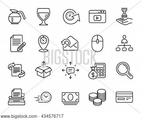 Vector Set Of Wine Glass, Article And Typewriter Line Icons Set. Time Hourglass, Computer Mouse And
