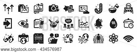 Set Of Business Icons, Such As Photo Cloud, Job Interview, Wifi Icons. Group, Online Question, Login