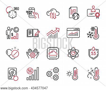 Vector Set Of Science Icons Related To Cloud Computing, Freezing And Education Icons. Employee Hand,