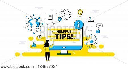 Helpful Tips Text. Internet Safe Data Infographics. Education Faq Sign. Help Assistance Symbol. Help