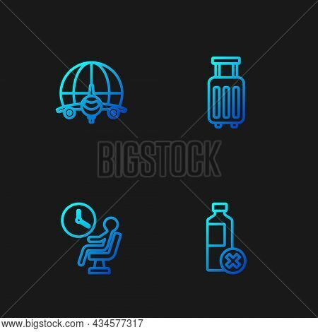 Set Line No Water Bottle, Human Waiting In Airport Terminal, Globe With Flying Plane And Suitcase. G