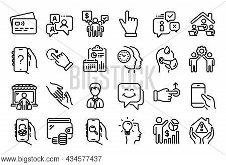Vector Set Of Hold Smartphone, Work Home And Teamwork Line Icons Set. Calendar Report, Money Wallet