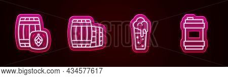 Set Line Wooden Barrel, , Glass Of Beer And Metal Keg. Glowing Neon Icon. Vector