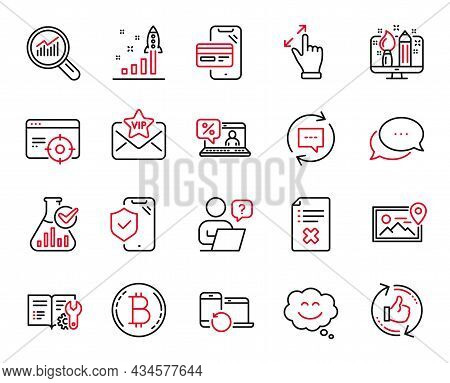Vector Set Of Technology Icons Related To Update Comments, Touchscreen Gesture And Reject File Icons
