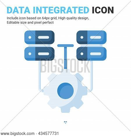 Data Integrated Icon Vector With Flat Color Style Isolated On White Background. Vector Illustration