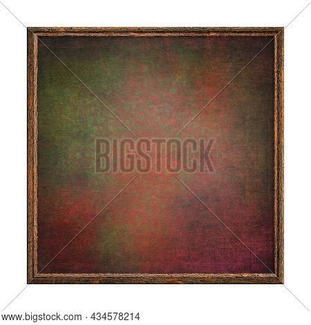 Wooden Frame. Empty Brown Square Frame With Red Green Abstract Fill Texture Isolated On White Backgr