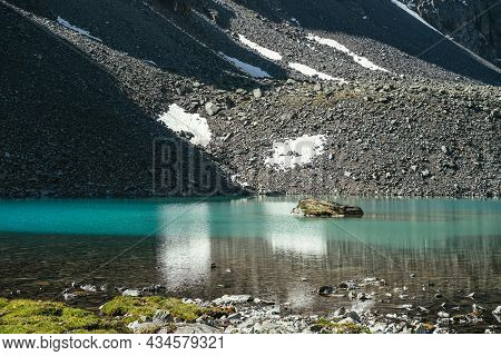 Beautiful Scenic Landscape With Turquoise Mountain Lake With Transparent Water And Stony Bottom. Azu