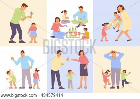 Parenting Composition Set With Happy Family Screaming Parents Emotional Angry Upset Children Flat Is