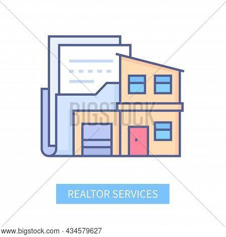 Realtor Services - Modern Line Design Style Icon
