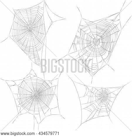 Set Of Spider Web Vector Illustrations, Spiderweb Icons