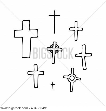 Doodle Crosses Set. Outline Grave Isolated On White Background. Sign Of Halloween, Day Of The Dead,