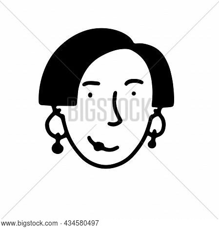 Doodle Girls Face. Hand-drawn Outline Human Isolated On White Background. Funny Avatar. Cartoon Woma