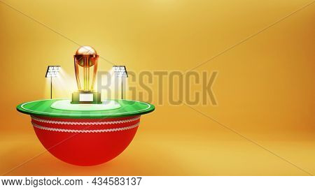 3D Render Of Cricket Stadium Or Playground With Golden Trophy Cup And Copy Space.