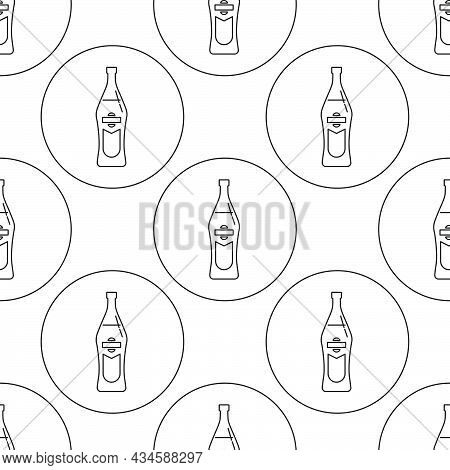 Seamless Pattern Of Bottle Of Vermouth In Flat Style In Form Of Thin Lines. In The Form Of Backgroun