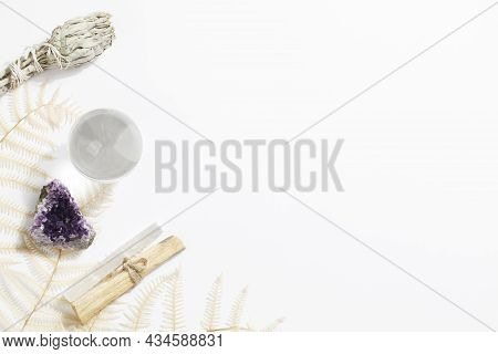 Palo Santo Sticks, Dried Sage, Crystals And Fortune Telling Ball. Magic Rock For Ritual, Witchcraft,