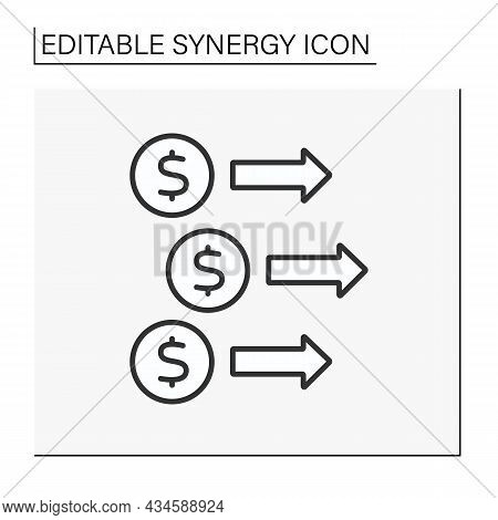 Revenue Synergy Line Icon. Dollar Signs, Income Increase. Investment In Profitable Business. Generat
