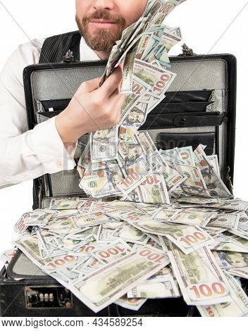 Closeup Of Businessman With Money Cafe Isolated On White Background, Bribe
