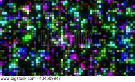 Abstract Bright Pixelated Mosaic Pattern. Motion. Abstract Background With Squares Flowing And Blink