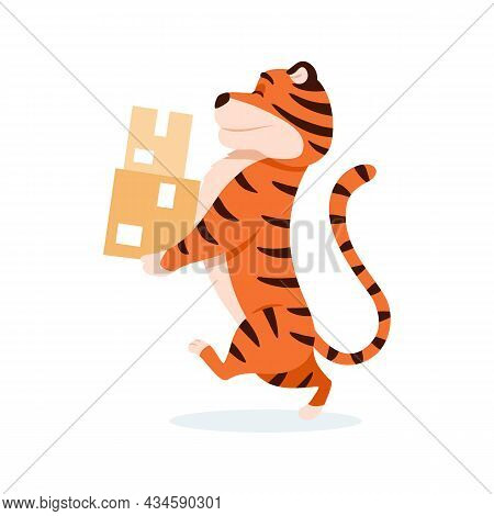 Cartoon Smiling Tiger Delivers Parcel Boxes Isolated On White Background. Cute Walking Wildcat. Chin