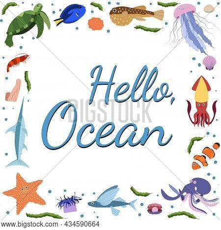 Frame Template With Cartoon Sea Animals. Ocean Background With Square Silhouette. Underwater Life. J