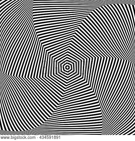 Rotation Movement Illusion In Abstract Op Art Design. Lines Texture. Vector Illustration.