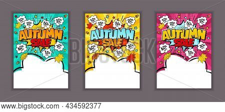 Bright Comic Banners For Autumn Sale Or Discount. Cloud Text Frame On A Ray Background. Template For