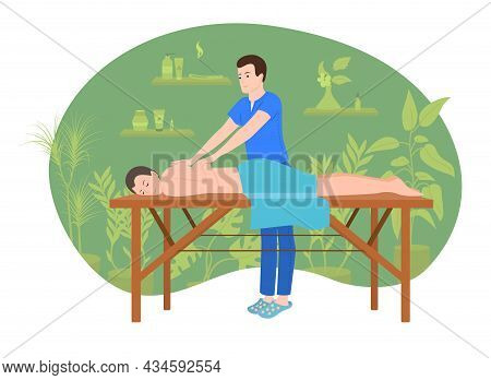 Massage Spa People Flat Composition With Characters Of Client Lying On Table With Working Massage Th