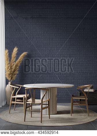 Dark Blue Interior With Dining Table, Decor And Brick Wall. 3d Render Illustration Mockup.
