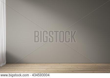 Blank Gray Wall And Wood Floor . 3d Render Illustration Mockup.