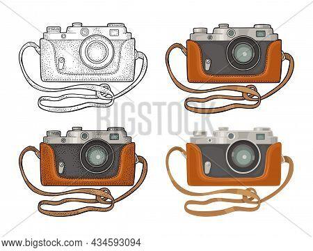 Photo Camera Icon Set. Vector Flat And Engraving Illustration