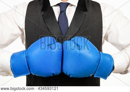 Business Knockout. Boss Show Power And Authority. Businessman In Boxing Gloves.