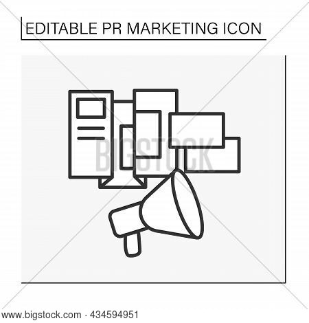 Flyers And Brochures Line Icon. Folder With Paper, Pictures, Recommendations, Examples Of Work, Pape