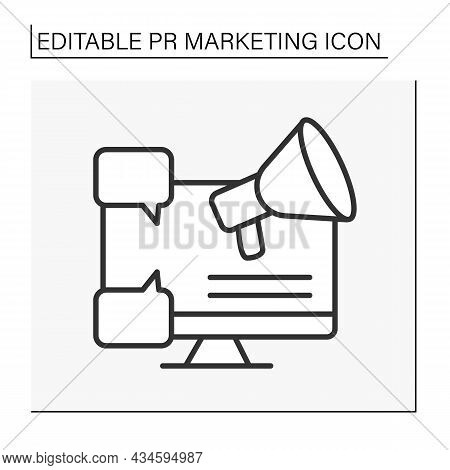 Marketing Line Icon. Improving And Maintaining The Company Brand. Pr Marketing Concept. Isolated Vec