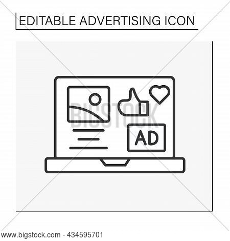 Advertisement Line Icon. Advertisement Webpage Laptop. Business Concept. Isolated Vector Illustratio