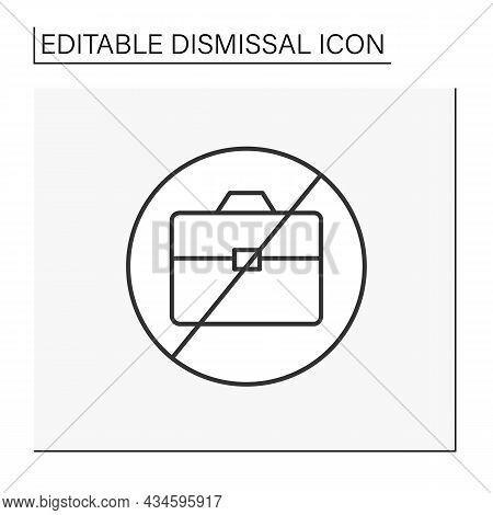 Job Loss Line Icon. Unemployment. Fired Person. Dismissal Concept. Isolated Vector Illustration. Edi