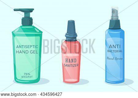 Hand Antiseptic Isolated On White Background. Alcohol  Hygienic Gel,  Liquid Antiseptic Soap, Hand S