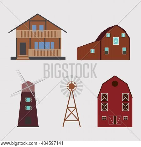 Agriculture And Farming Buildings Vector Collection. Countryside Life And Industrial Objects, Barn,