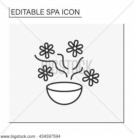 Sauna Aroma Bowl Line Icon. Steel Aromatherapy Oil Cup On Fire. Beauty Procedures. Cosmetology. Spa