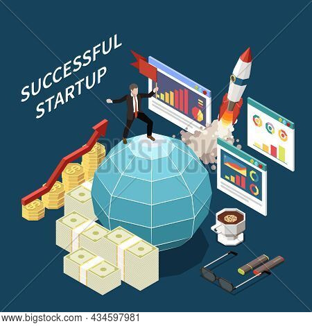 Startup Project Isometric Concept With Successful Startup Descriptions Money Bills And Tools Equipme