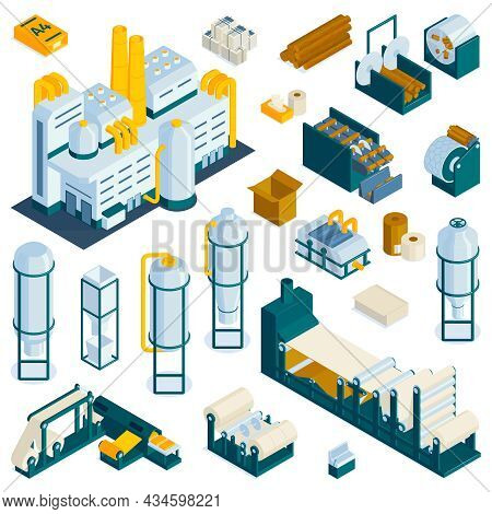Set Of Isolated Paper Production Icons With Colorful Images Of Plant Facilities Storage And Industri