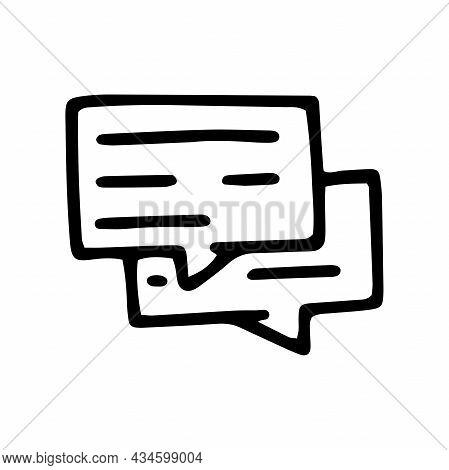 Dialogue Line Vector Doodle Simple Icon Design