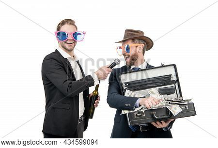Won Jackpot. Showman Interview Winning Man Holding Suitcase With Money Win. Jackpot Winner