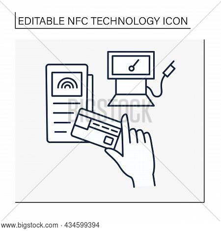 Nfc Technology Line Icon. Contactless Payment For Gas.banking Terminal Gas Station. Contactless Paym